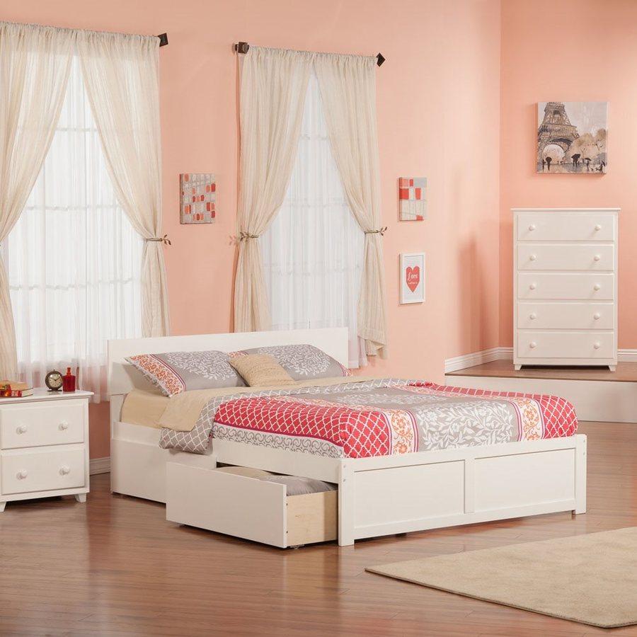Atlantic Furniture Orlando White Queen Platform Bed With Storage
