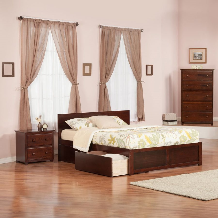 Atlantic Furniture Orlando Antique Walnut Queen Platform Bed With Storage