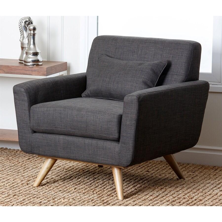 Pacific Loft Bradley Midcentury Charcoal Linen Accent Chair