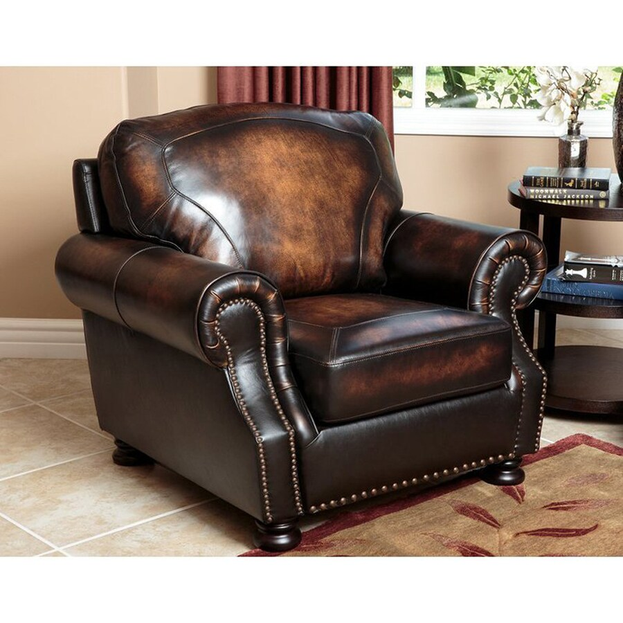 Pacific Loft Sienna Casual Brown Genuine Leather Club Chair