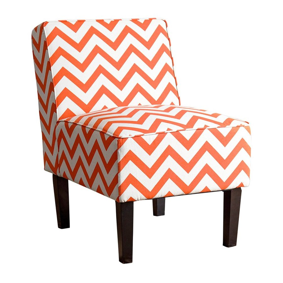 Pacific Loft Modern Orange/White Linen Slipper Chair