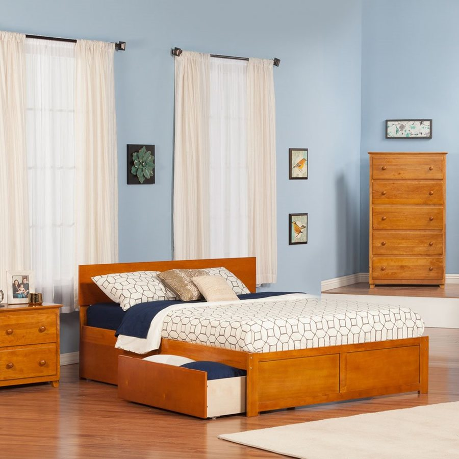 Atlantic Furniture Orlando Caramel Latte King Platform Bed With Storage