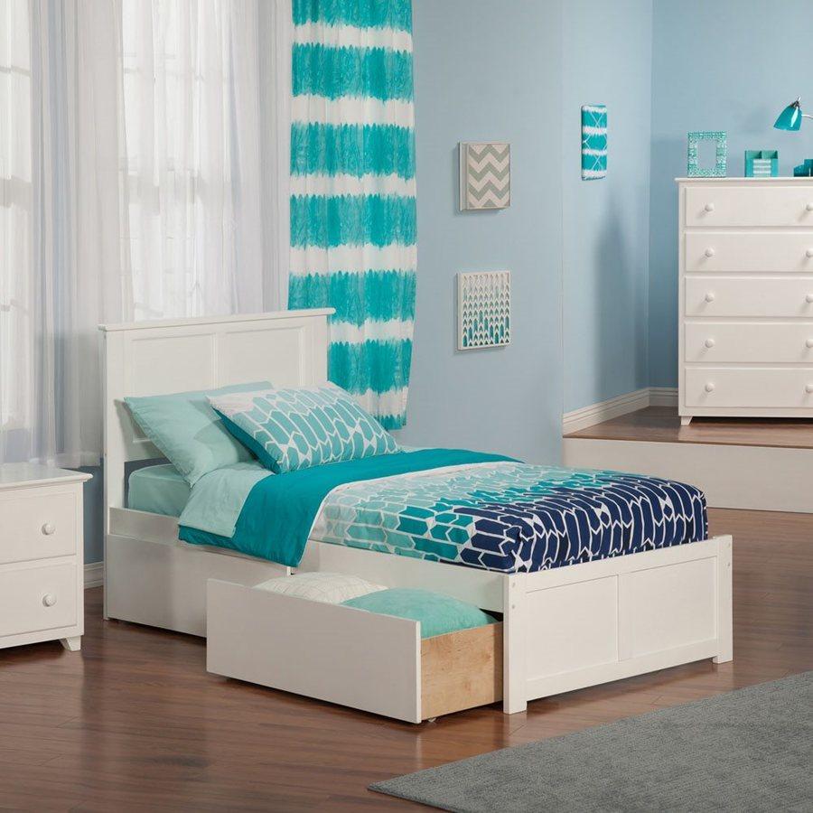 Atlantic Furniture Madison White Twin Xl Platform Bed With Storage