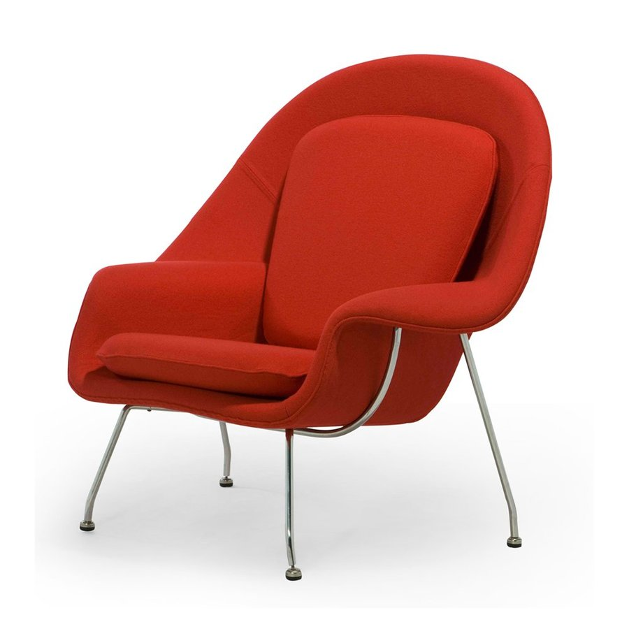 AEON Furniture Modern Classics Midcentury Red Wool Accent Chair