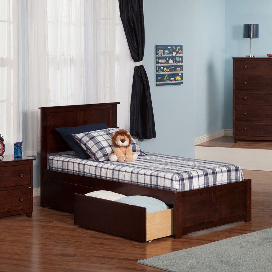 Atlantic Furniture Madison Antique Walnut Twin Xl Platform Bed With