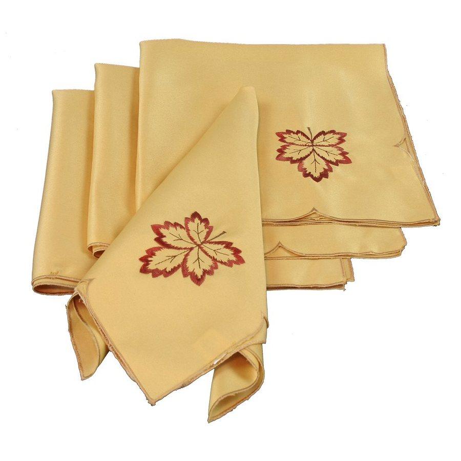 XIA Home Fashions 4-Piece Fabric Leaves Napkin