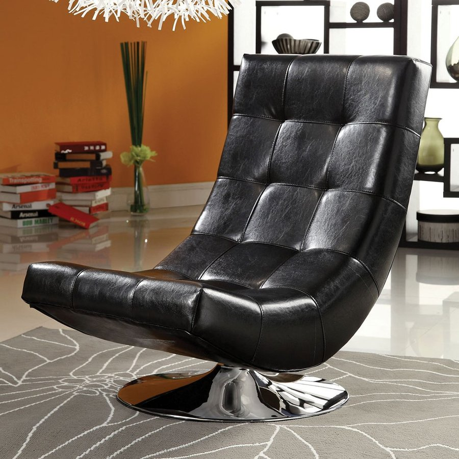 Furniture of America Trinidad Modern Black Faux Leather Accent Chair
