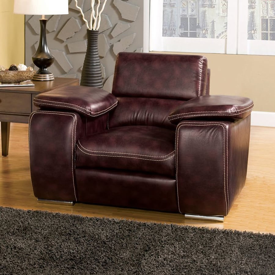 Furniture of America Dinar Modern Dark Brown Faux Leather Club Chair