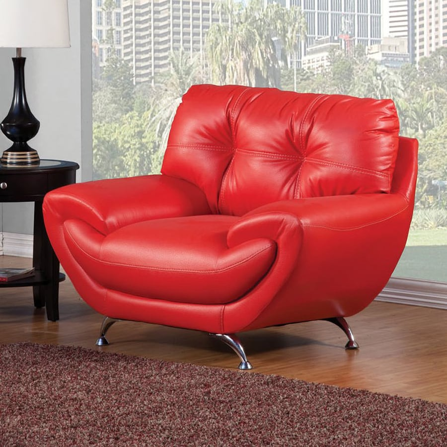 Furniture of America Volos Modern Red Faux Leather Club Chair