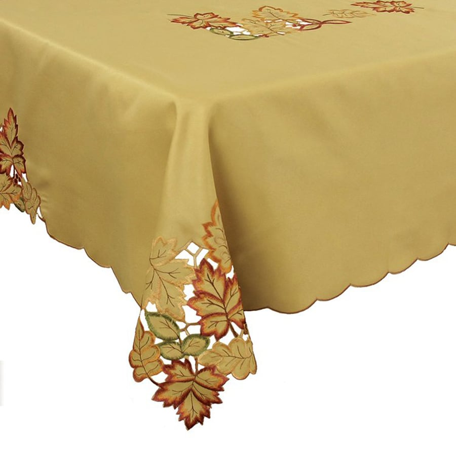XIA Home Fashions Bountiful Fabric Leaves Tablecloth Indoor Thanksgiving Decoration
