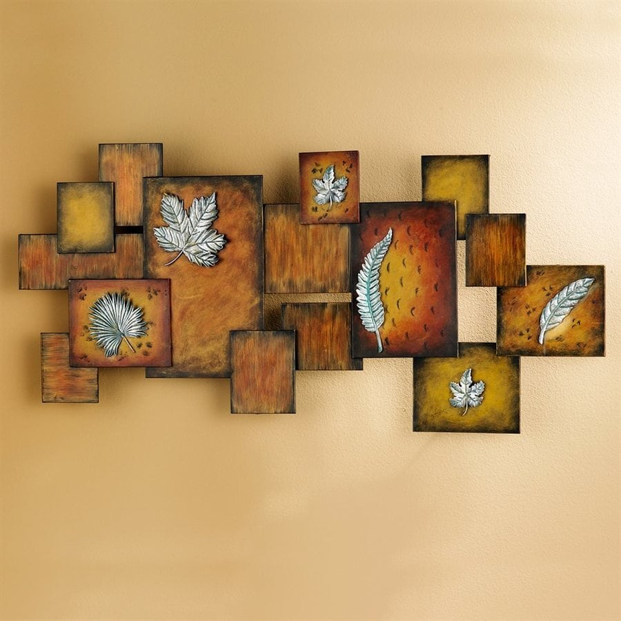 Boston Loft Furnishings 1-Piece 40-in W x 19.25-in H Frameless Metal Leaves 3D Art Wall Art