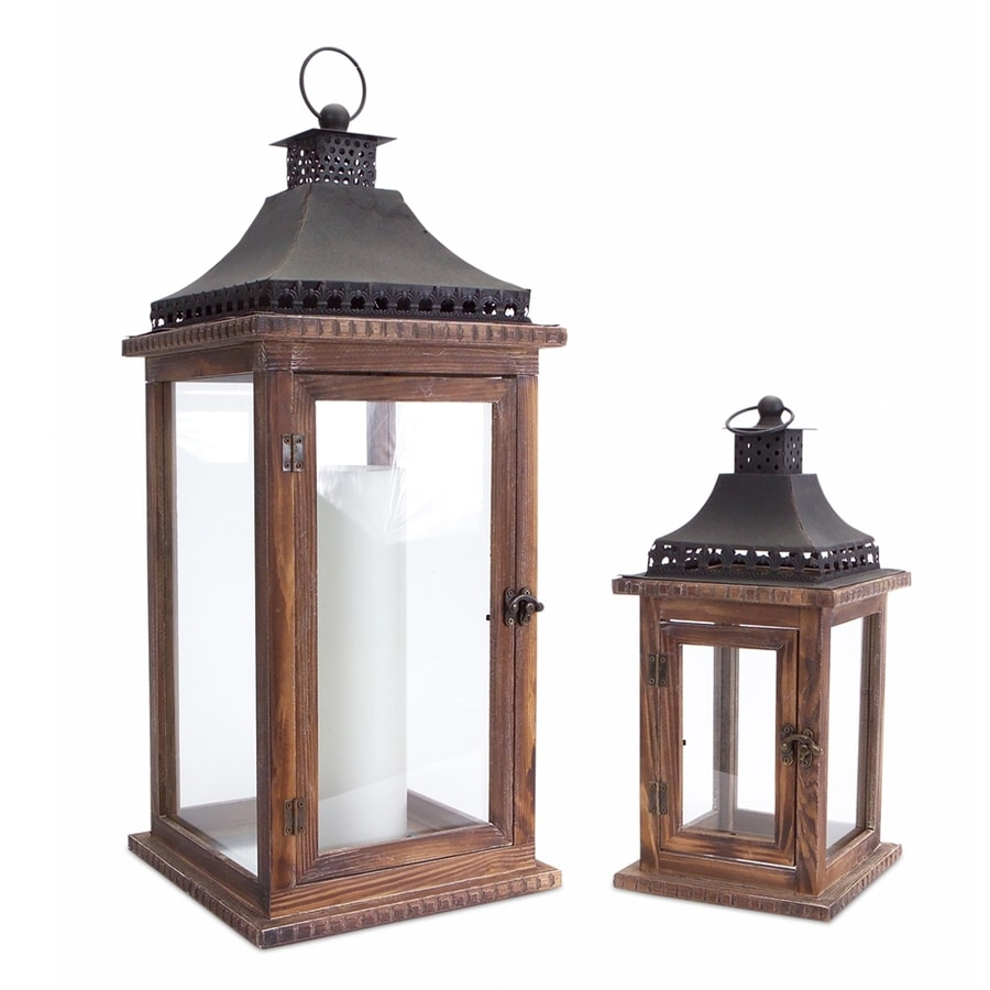 Melrose International 2 Candle Fall Harvest Brown/Black Wood Lantern Candle Holder