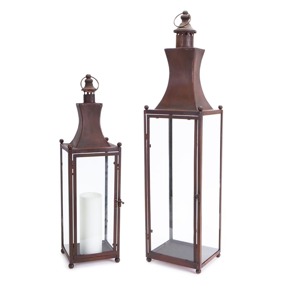 Melrose International 2 Candle Fall Harvest Brown Metal Lantern Candle Holder