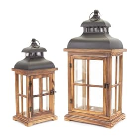 melrose 2 candle fall harvest wood lantern candle holder