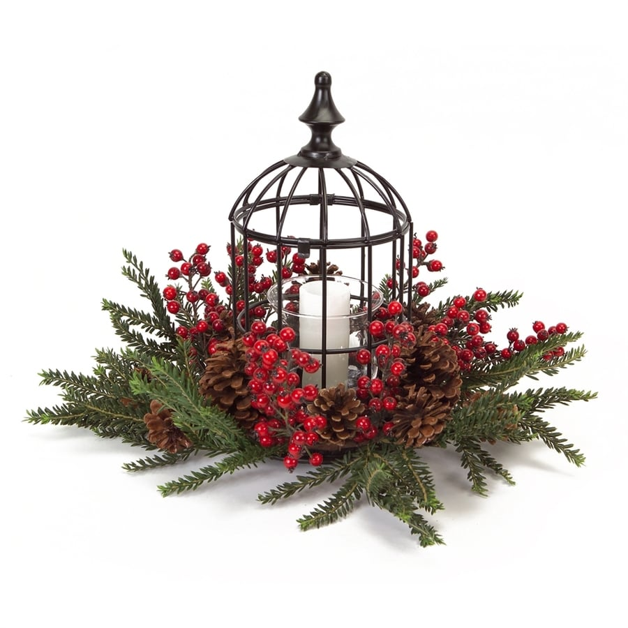 Melrose International 1 Candle Fall Harvest Black/Red/Brown Plastic Pillar Christmas Candle Holder