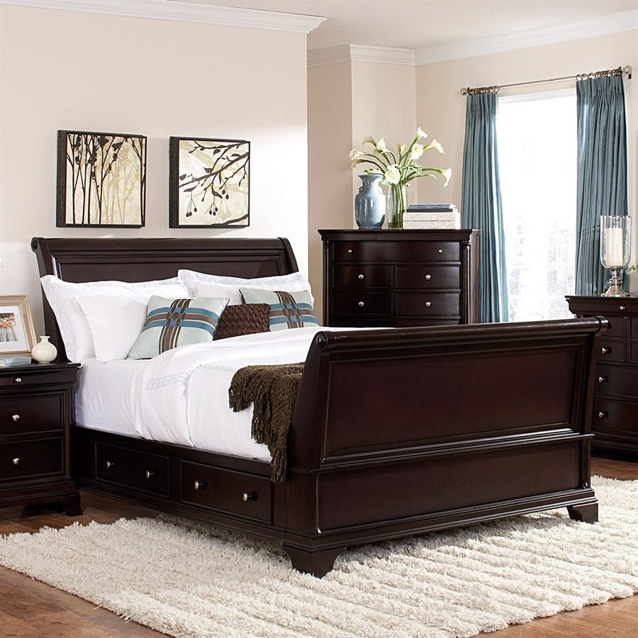Homelegance Inglewood Deep Cherry Queen Sleigh Bed with Integrated Storage