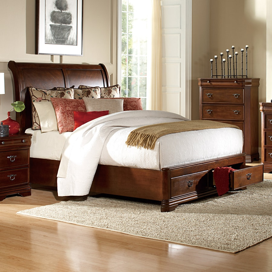 Homelegance Karla Brown Cherry Queen Sleigh Bed with Integrated Storage