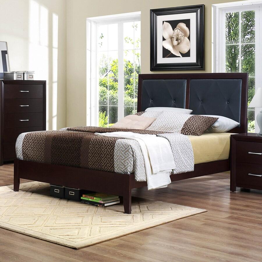 Homelegance Edina Brown Espresso King Upholstered Bed