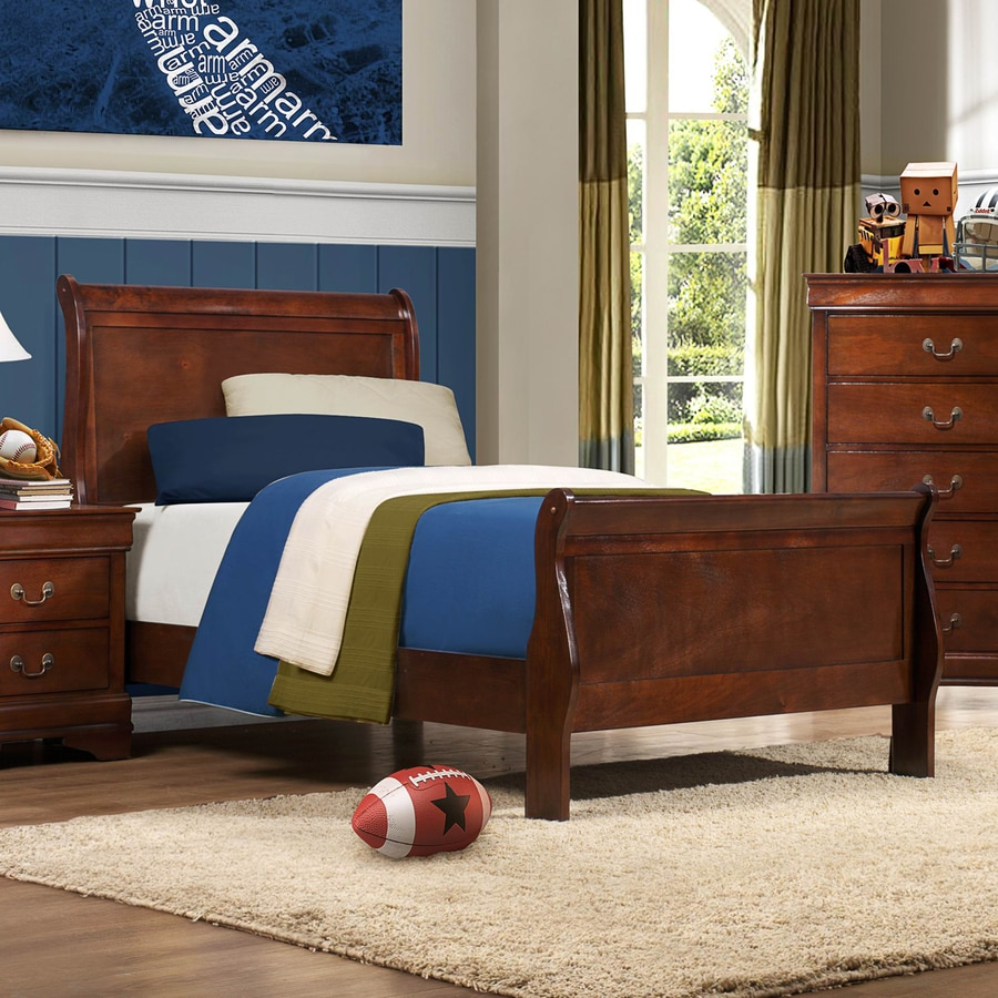 Homelegance Mayville Burnished Brown Cherry Twin Sleigh Bed