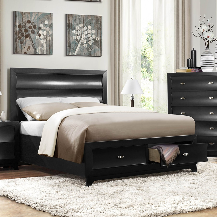 Homelegance Zandra Pearl Black Queen Panel Bed with Integrated Storage