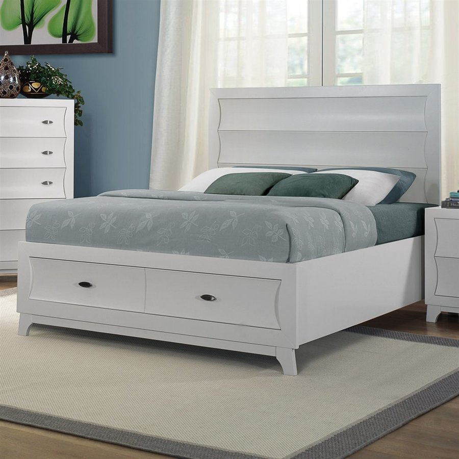 Homelegance Zandra Pearl White King Panel Bed with Integrated Storage