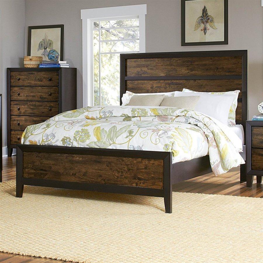 Homelegance Arcola Espresso/Drifted Oak Queen Panel Bed