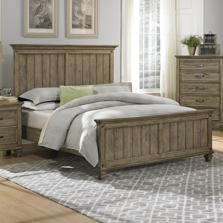 Homelegance Sylvania Oak Driftwood Queen Panel Bed