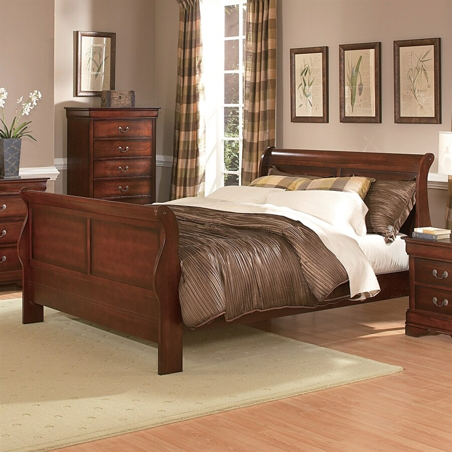 Homelegance Chateau Brown Distressed Cherry Full Sleigh Bed