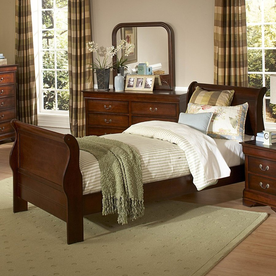 Homelegance Chateau Brown Distressed Cherry Twin Sleigh Bed