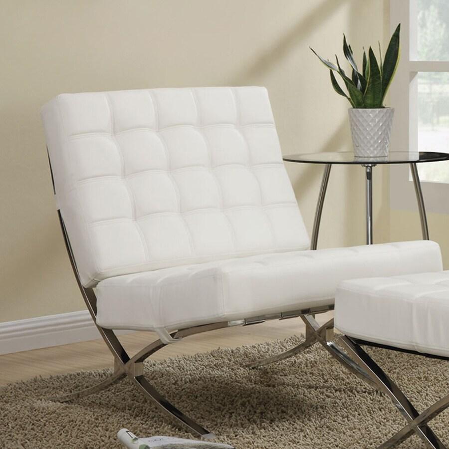 Coaster Fine Furniture Modern White Vinyl Accent Chair