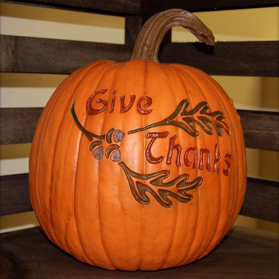 Craft-Tex 1-ft 2-in Pumpkin Patch Give Thanks Artificial Pumpkin