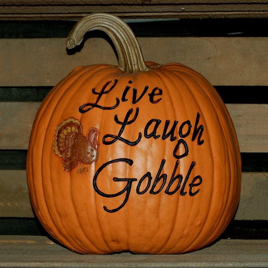 Craft-Tex 1-ft 2-in Pumpkin Patch Live Laugh Gobble Artificial Pumpkin