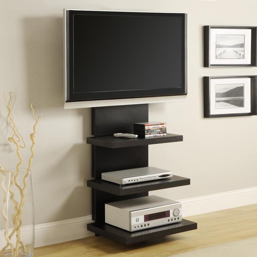 Ameriwood Home Black Rectangular TV Cabinet Integrated Rectangular TV Mount