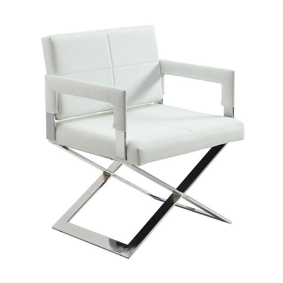 Chintaly Imports Dakota Modern White Polyurethane Accent Chair