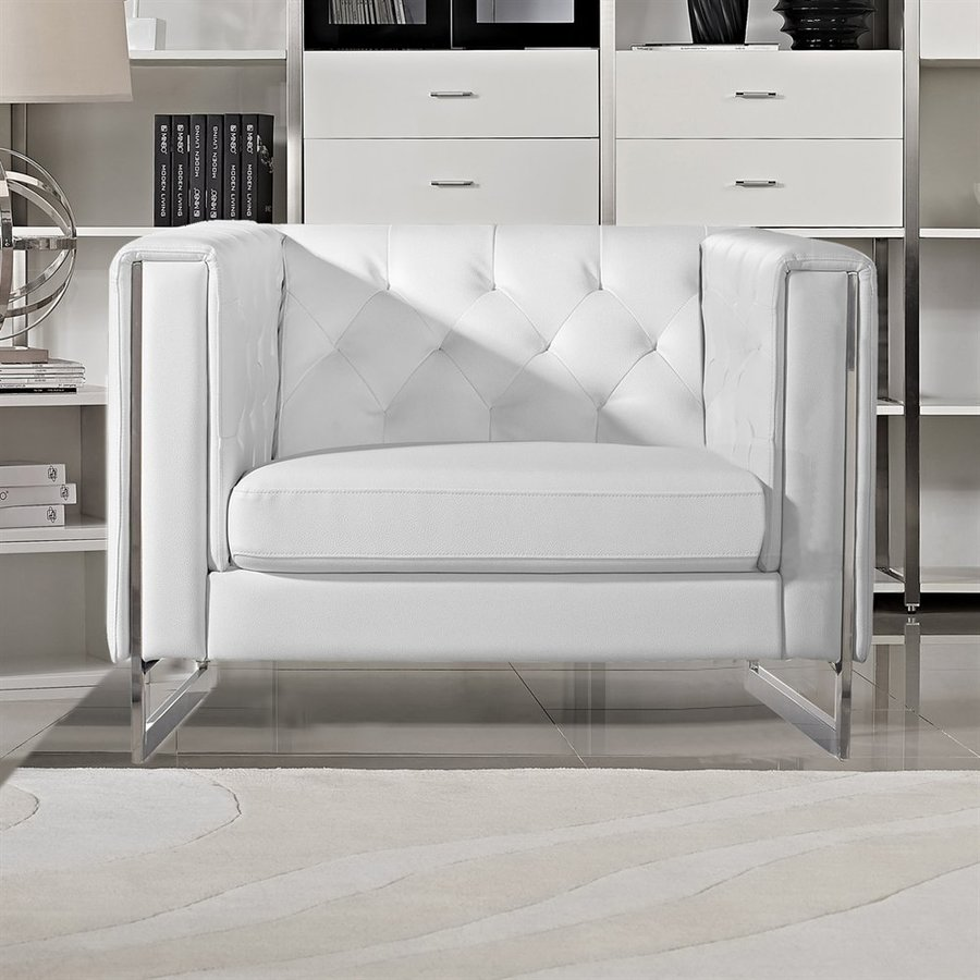 DIAMOND SOFA Chelsea Modern White Faux Leather Club Chair