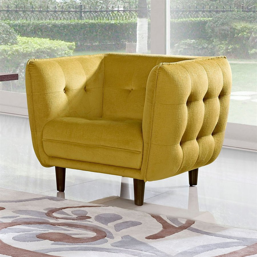 DIAMOND SOFA Venice Midcentury Yellow Polyester Blend Club Chair