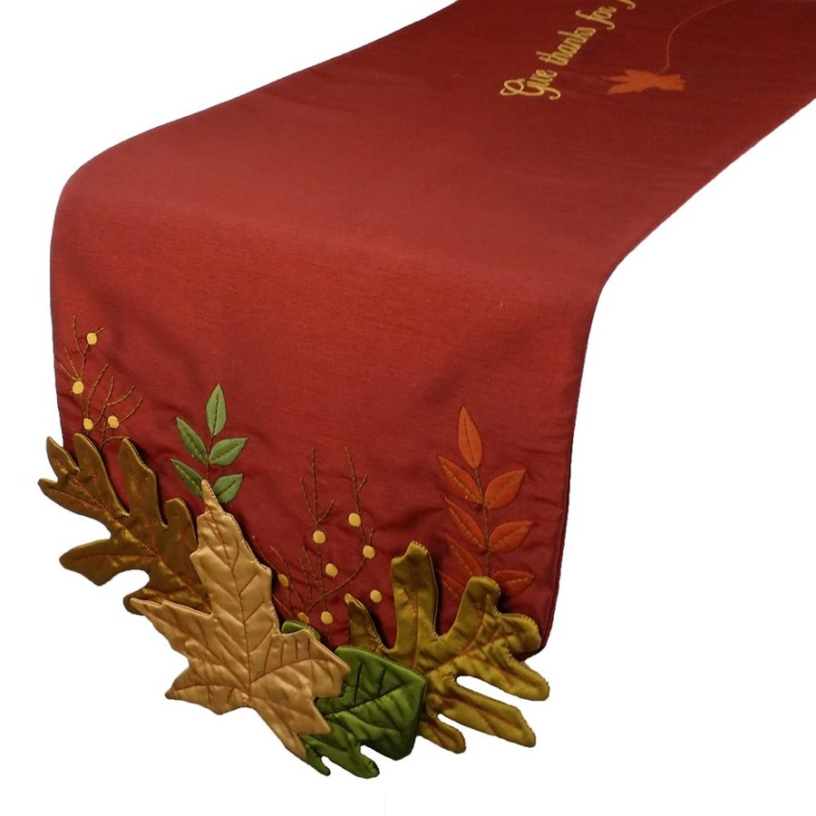 XIA Home Fashions Polyester Leaves Table Runner