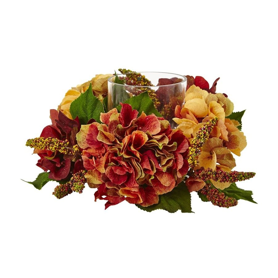 Nearly Natural 1 Candle Autumn Hydrangea Berry Fall Colors Glass Hurricane Thanksgiving Candle Holder