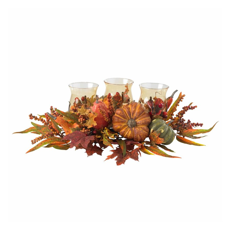 Nearly Natural 3 Candle Harvest Fall Colors Glass Hurricane Thanksgiving Candle Holder