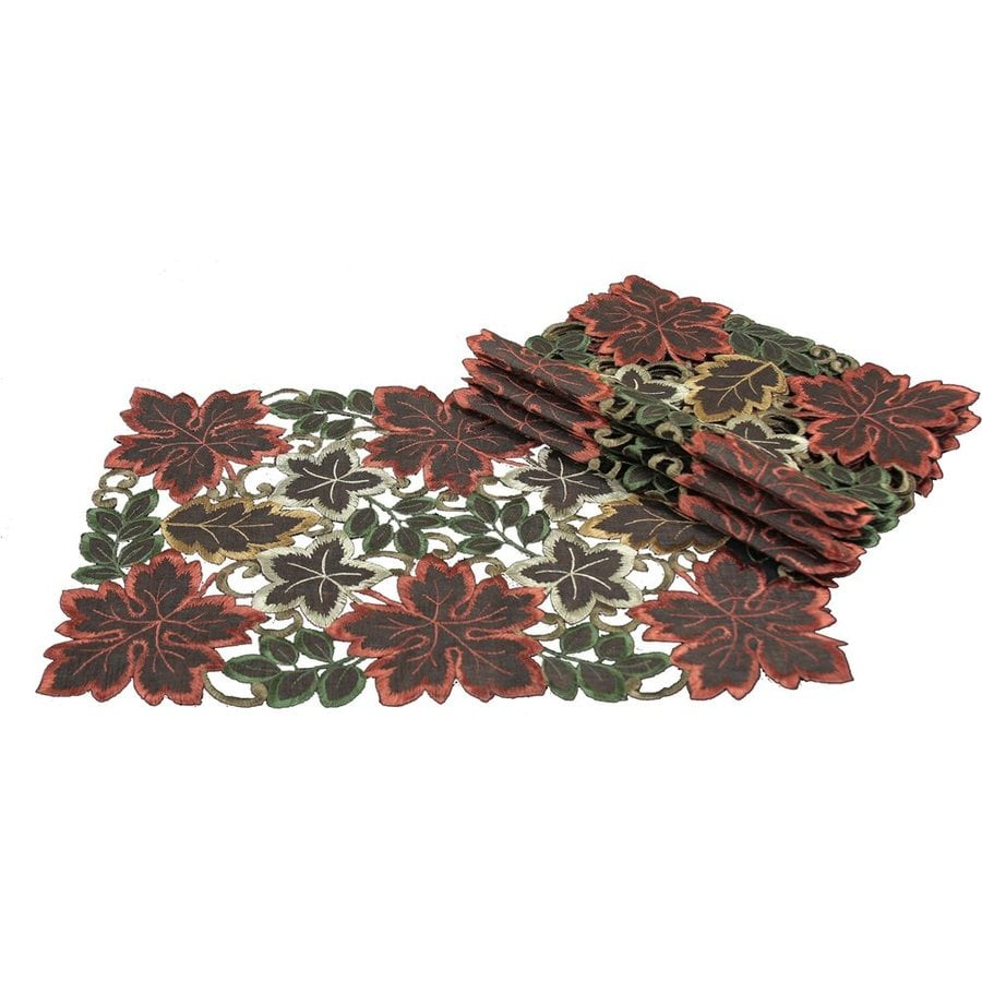 XIA Home Fashions 4-Piece Dainty Fabric Leaves Placemats Indoor Thanksgiving Decoration