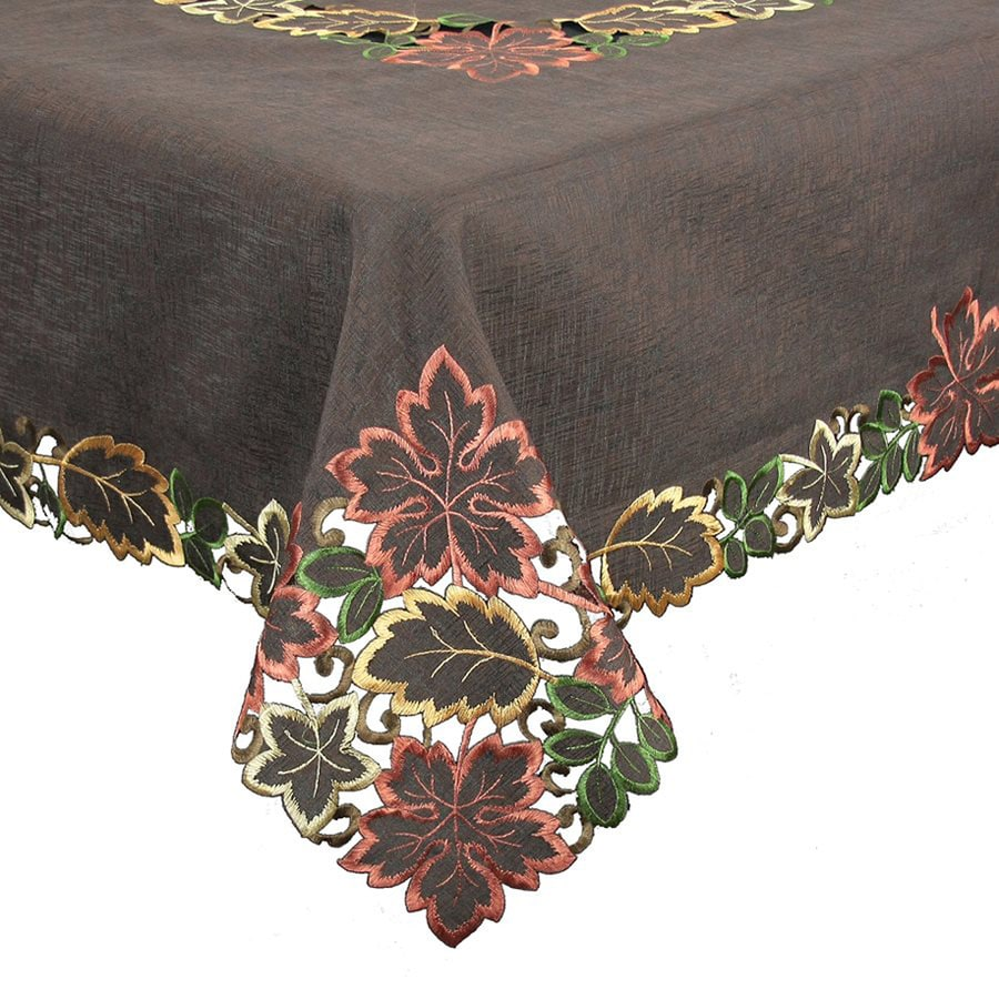 XIA Home Fashions Dainty Fabric Leaves Tablecloth Indoor Thanksgiving Decoration