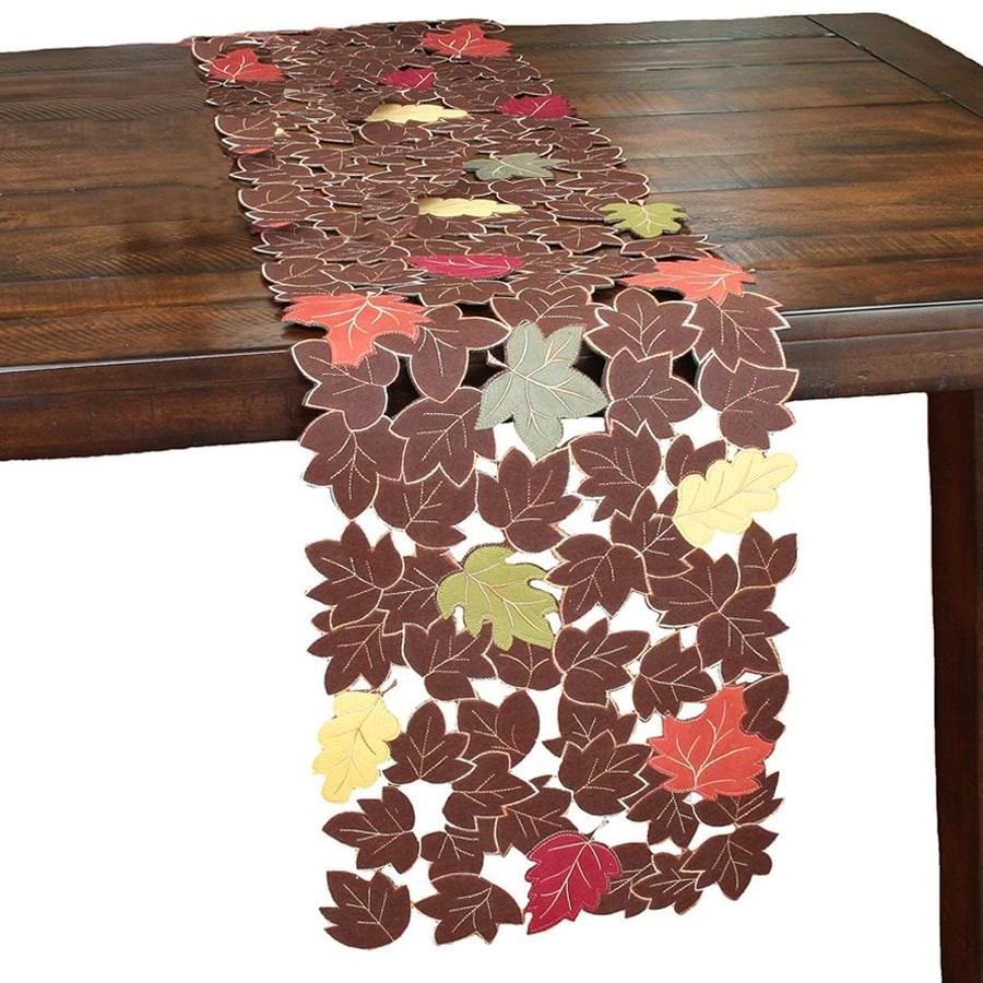 XIA Home Fashions Fabric Leaves Table Runner