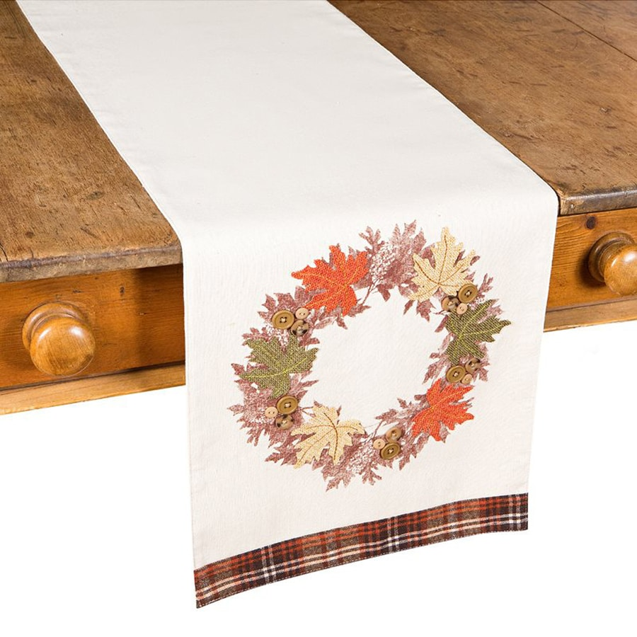XIA Home Fashions Maple Wreath Cotton Table Runner Indoor Thanksgiving Decoration