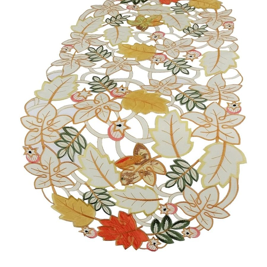 XIA Home Fashions Harvest Splendor Fabric Leaves Table Runner Indoor Thanksgiving Decoration