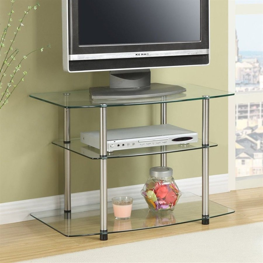 Convenience Concepts Classic Glass Silver Rectangular TV Cabinet