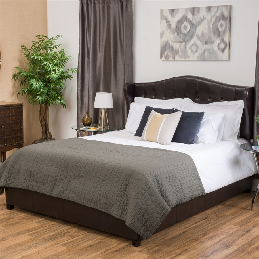 Best Selling Home Decor Alford Brown Queen Upholstered Bed