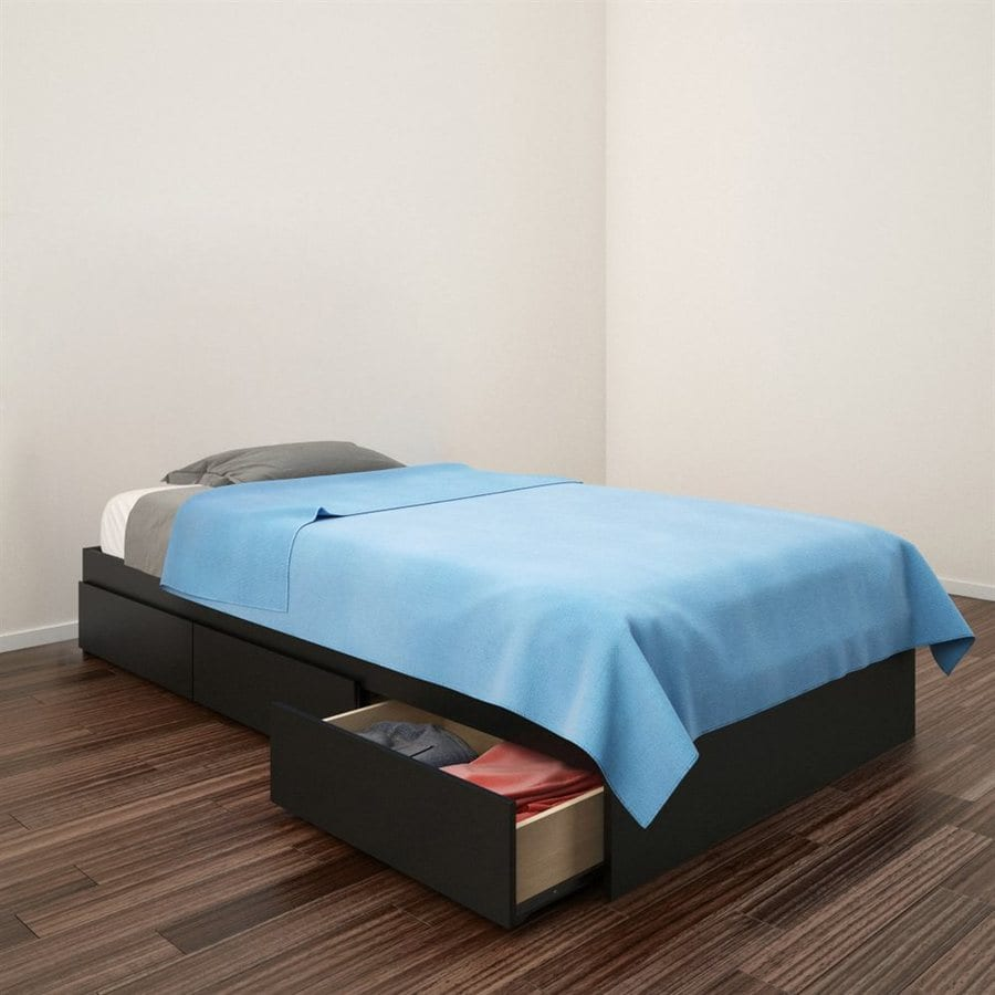 Nexera Avenue Black Twin Platform Bed with Storage