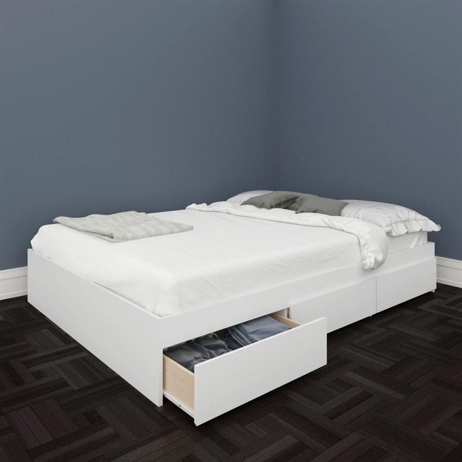 Nexera BLVD White Full Platform Bed with Storage