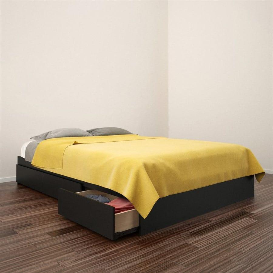 Nexera Avenue Black Full Platform Bed with Storage