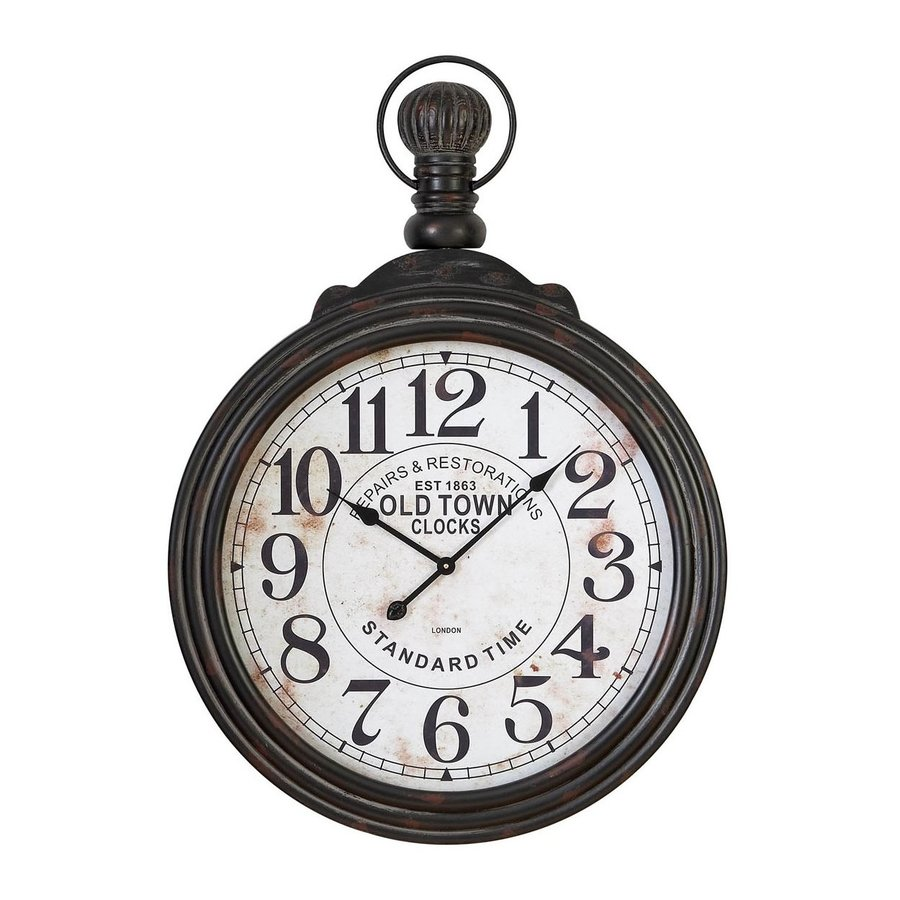 Aspire Home Accents Pocket Watch Analog Round Indoor Wall Standard Clock